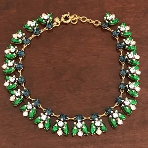 J. Crew Blue & Green Crystal Statement Necklace